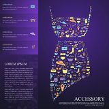 Colorful woman fashion, clothes, and accessories icon infographi Stock Photo