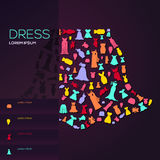 Colorful woman fashion, clothes, and dress icon infographic broc Royalty Free Stock Photos