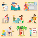 Colorful Woman Lifestyle Characters Set. With different female occupations and girls in various situations isolated vector illustration stock illustration