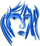 Colorful woman portrait in blue tones isolated Stock Photo