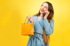Colorful woman portrait with shopping bag Royalty Free Stock Images