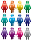 Colorful woman symbols Royalty Free Stock Photo