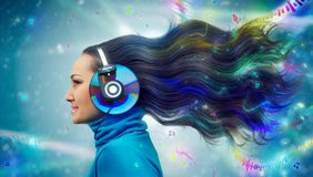 Colorful women in headphones Royalty Free Stock Photos
