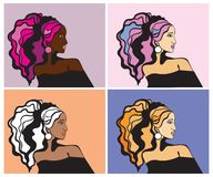 Colorful women portraits Royalty Free Stock Photography