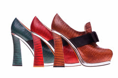 Colorful women`s high-heeled shoes. Royalty Free Stock Photos