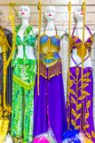 The colorful women`s national dress of Egypt with ornament. Royalty Free Stock Images