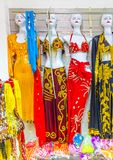 The colorful women`s national dress of Egypt with ornament. Stock Photos