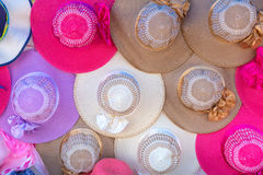 colorful of Women's summer hats in market Stock Photo