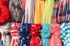 Colorful women scarves at a market. Selection of colorful women scarves at a market Royalty Free Stock Image