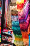 Colorful women scarves at a market. Selection of colorful women scarves at a market Stock Image