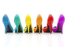 Colorful women stiletto heel shoes isolated on white background vector illustration