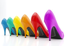 Colorful women stiletto heel shoes isolated on white background. Fashion concept Stock Photos