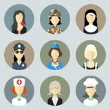 Colorful Women in Uniform. Circle Icons Set. Modern Flat Style. This file contains transparency Royalty Free Stock Photos