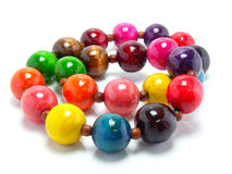 Colorful wood bead necklace Stock Photo