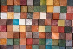 Colorful wood block tiles patterns abstract background. Colorful wood block tile patterns abstract background stock photos