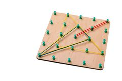 Wooden logic toy. Creativity toys. The concept of logical thinking royalty free stock images