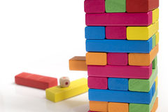 Colorful Wood bricks a child game Royalty Free Stock Photo