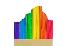 Colorful wood ice cream stick isolated on white Royalty Free Stock Image