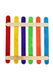 Colorful wood ice-cream stick. On white background Royalty Free Stock Images