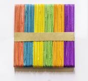 Colorful wood ice-cream sticks, background. Stock Photo