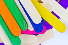 Colorful wood ice lolly sticks. Ice cream sticks Stock Images