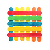 Colorful wood ice lolly sticks, Ice cream sticks, isolated on wh Stock Image