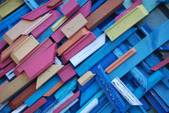 Colorful wood pieces. A background of colorful wooden pieces Royalty Free Stock Image