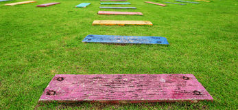 Colorful of wood plate line walk path Stock Photos