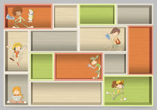 Colorful wood shelf with cartoon teenager students Stock Photos