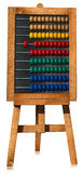 Colorful Wooden Abacus on an Easel. 3D illustration of a wooden and colorful abacus on an easel. Isolated on white background Royalty Free Stock Photos