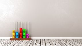 Abacus on Wooden Floor Against Wall Stock Photography