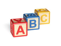 Colorful wooden alphabet blocks  on white background. 3d render of colorful wooden alphabet blocks  on white background Stock Image