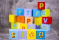 Colorful wooden alphabet, blog write. Education concept photo.  stock photo