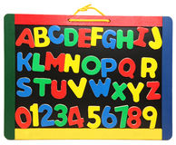 Colorful Wooden Alphabet And Numbers Royalty Free Stock Photography