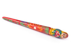 Colorful wooden babushka stick Royalty Free Stock Photography