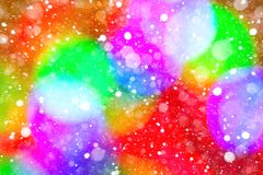 Colorful wooden background and falling snowflakes. Winter background. Christmas spirit. Abstract background of colorful spots, bokeh and snow. Festive background Royalty Free Stock Images