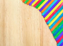 Colorful on wooden background. Royalty Free Stock Photography