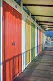 Colorful wooden beach huts Royalty Free Stock Images