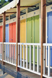 Colorful wooden beach huts Royalty Free Stock Image