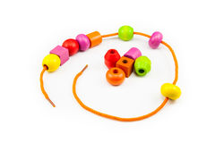 Colorful Wooden Beads Necklace Stock Photo