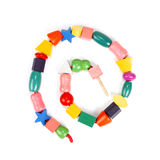 Colorful wooden beads toy Stock Images