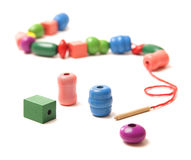 Colorful wooden beads toy Stock Photos