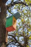 Colorful wooden birdhouse on tree. Design of nesting box. Bird shelter in spring forest. Handmade bird house. Wooden firds feeder in garden royalty free stock photos