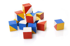 Colorful wooden blocks. On white background Royalty Free Stock Photos
