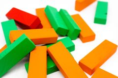 Colorful wooden blocks arranged by the imagination. Colorful wooden blocks toy arranged by the imagination Stock Image