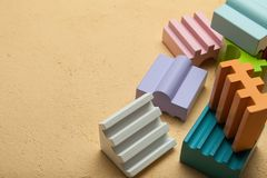 Colorful wooden blocks, creative, logical thinking. Copy space for text stock photos
