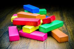 Colorful wooden blocks game for children Royalty Free Stock Image