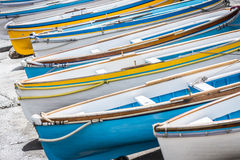 Colorful wooden boats. Royalty Free Stock Photos