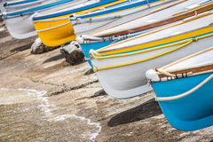 Colorful wooden boats. Stock Photos