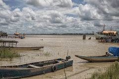 Colorful wooden boats in Paramaribo Royalty Free Stock Photo